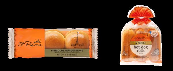St Pierre 6 Pack Brioche Burger Buns & Hot Dog Rolls