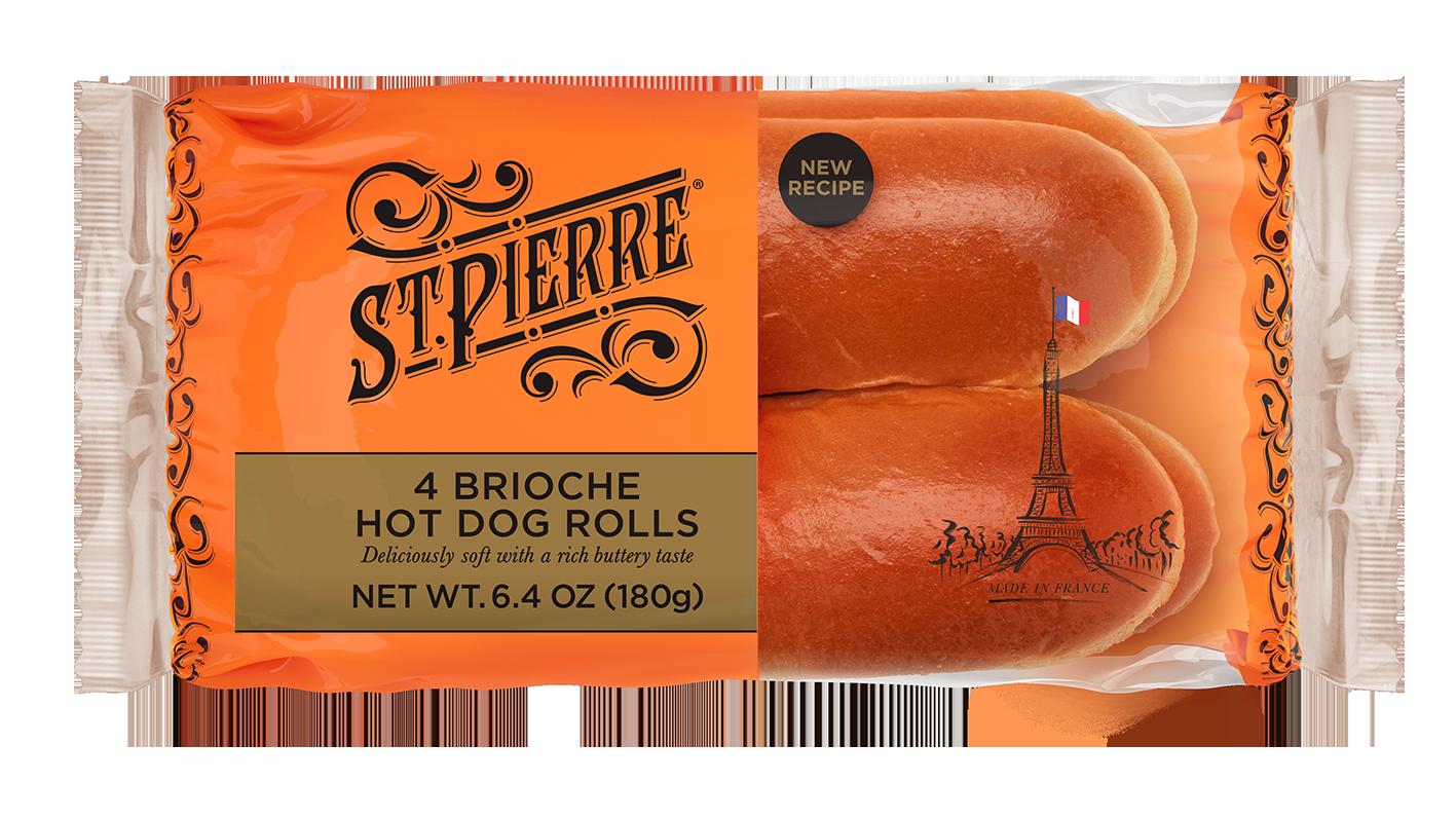 St Pierre 4 Brioche Hot Dog Rolls Pack Shot