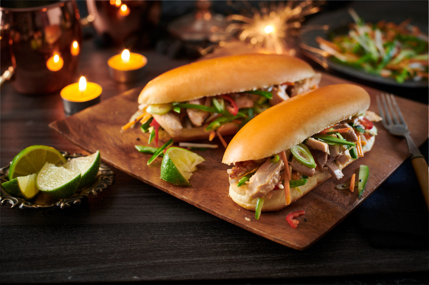 Soy And Sesame Chicken Rolls With Asian Slaw